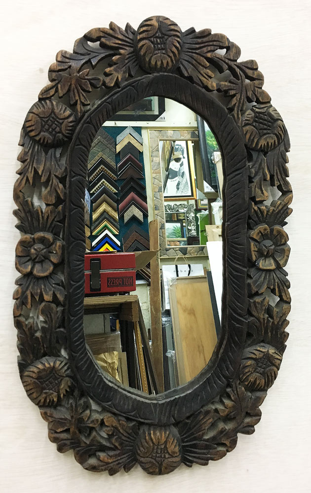 Oval Solid curve wood mirror