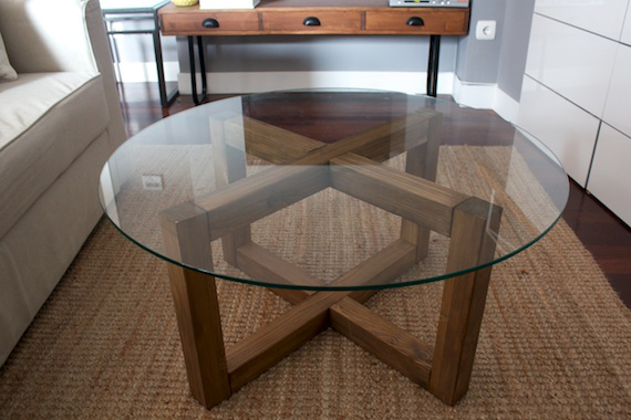 Round shaped table top glass ansa picture framing art for Diy table base for glass top