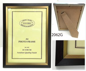 Matt Texture Dark Brown and gold Edged Ready Made Frame